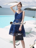 Saphirly Blue Lace Blossom Cami Dress