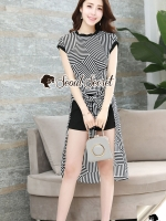 Chic Stripe Waisty Tie Shorts Set