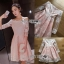 🎀 Lady Ribbon's Made 🎀 Lady Leona Sweet Allure Off-Shoulder Pink and White Lace Dress thumbnail 5