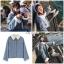 เสื้อคลุม คอปก แขนยาว สีฟ้า thumbnail 5