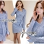 🎀 Lady Ribbon's Made 🎀 Lady Jennifer Sexy Chic Striped Shirt Dress thumbnail 2