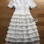 🎀 Lady Ribbon's Made 🎀Lady Ariana Ruffle & Layered White Mixed Fabric Dress thumbnail 9