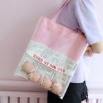กระเป๋าถุงผ้า Canvas แต่งตุ๊กตา/ตัวการ์ตูน เย็บครอบ PVC ใส (มีให้เลือก 4 สี)