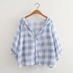 เสื้อคลุม/แจ็คเก็ตฮู้ดลายสก๊อต (มีให้เลือก 2 สี)
