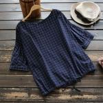เสื้อเบลาส์ลายตารางแขนสั้นทรงค้างคาว (มีให้เลือก 3 สี)