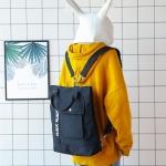 กระเป๋าเป้ผ้า Canvas พิมพ์ลาย ปรับสายเป็นกระเป๋าสะพายข้างได้ (มีให้เลือก 4 สี)