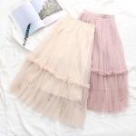 กระโปรงผ้ามุ้งเอวยืด ประดับมุก (มีให้เลือก 2 สี)
