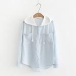 เสื้อคลุม/แจ็คเก็ตฮู้ดลายเส้นสีฟ้า ฮู้ดขาว (มีให้เลือก 2 ไซส์)