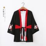 เสื้อคลุมญี่ปุ่นปักลายแต่งห้อยพู่ + ผ้าคาดเอวญี่ปุ่น