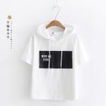 เสื้อยืดฮู้ดแขนสั้น พิมพ์ลาย (มีให้เลือก 3 สี)