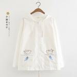 เสื้อคลุม/แจ็คเก็ตฮู้ด ปักแต่งลาย (มีให้เลือก 3 สี)