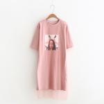 เดรสเสื้อยืดพิมพ์ลาย แต่งผ้ามุ้ง (มีให้เลือก 2 สี)