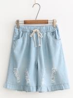 กางเกงยีนส์ขาสั้นเอวยืด กัดลาย (มีให้เลือก 2 สี 2 ไซส์)