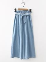 กางเกงยีนส์ขายาวเอวยืด คาดแต่งโบว์ (มีให้เลือก 2 สี 2 ไซส์)