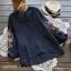 เสื้อผ้าฝ้ายคอวีปักแต่งลาย แขนสามส่วน (มีให้เลือก 3 สี) thumbnail 3
