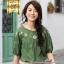[สินค้าป้ายทอง] เสื้อเบลาส์ผ้าฝ้าย100%แขนสั้น ปักลาย (มีให้เลือก 2 สี 4 ไซส์) thumbnail 1