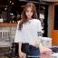[PRE-KOREA] เสื้อยืดแต่งคอเสื้อพิมพ์ลายแถบแขนสั้น (มีให้เลือก 2 สี) thumbnail 4