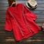 เสื้อเบลาส์คอวีปักลาย แขนสั้น (มีให้เลือก 4 สี) thumbnail 3