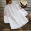 เสื้อผ้าฝ้ายปักแต่งลายครอสติช แขนสามส่วน (มีให้เลือก 2 สี) thumbnail 3
