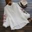 เสื้อผ้าฝ้ายคอวีปักแต่งลาย แขนสามส่วน (มีให้เลือก 3 สี) thumbnail 2