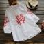 เสื้อผ้าฝ้ายปักแต่งลายครอสติช แขนสามส่วน (มีให้เลือก 2 สี) thumbnail 1