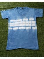 เสื้อยืดคอวี 100%Cotton มัดย้อมสีธรรมชาติ size:S