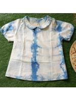 เสื้อคอบัว ย้อมครามธรรมชาติ Size:140 (อายุ6-7 ขวบ)