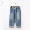 กางเกงยีนส์เอวยืด ปักลาย (มีให้เลือก 2 สี 3 ไซส์)
