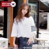[PRE-KOREA] เสื้อยืดแต่งคอเสื้อพิมพ์ลายแถบแขนสั้น (มีให้เลือก 2 สี)
