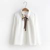 เสื้อเชิ้ตสีขาวแขนยาว ปักแต่งลาย (มีให้เลือก 3 ไซส์)