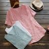 เสื้อเบลาส์แขนสั้น ปักแต่งลายลูกไม้ (มีให้เลือก 3 สี)