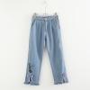 กางเกงยีนส์ขายาวเอวยืด ปักแต่งลาย/แต่งโบว์