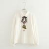 เสื้อเชิ้ตแขนยาวสีขาว ปักแต่งลาย/แต่งโบว์