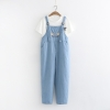 เอี๊ยมกางเกงยีนส์ขายาว ปักลาย (มีให้เลือก 2 สี) *ไม่รวมเสื้อยืดด้านใน
