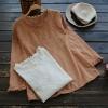 เสื้อเบลาส์ผ้าลูกไม้ปักลาย แขนยาว (มีให้เลือก 2 สี)