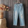 กางเกงยีนส์ขายาวเอวยืด ปักแต่งลาย