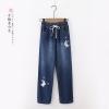 กางเกงยีนส์ขายาวเอวยืด ปักแต่งลาย (มีให้เลือก 2 สี 3 ไซส์)