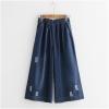 กางเกงยีนส์ขายาวเอวยืด กัดลาย (มีให้เลือก 2 สี 2 ไซส์)