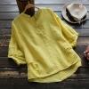 เสื้อเบลาส์คอวีแขนสั้น แต่งกระดุมหลังหลอก (มีให้เลือก 4 สี)