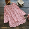 เสื้อเบลาส์ผ้าฝ้ายผสมลินิน คอวีกระดุมหน้า (มีให้เลือก 2 สี)