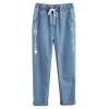 กางเกงยีนส์ขายาวเอวยืด พิมพ์ลาย (มีให้เลือก 3 ไซส์)