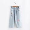 กางเกงยีนส์ขายาวปักลาย เอวยืด (มีให้เลือก 2 ไซส์)