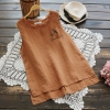เสื้อผ้าฝ้ายแขนกุด พิมพ์ลาย (มีให้เลือก 6 สี)