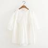 เสื้อเบลาส์ลูกไม้แขนสั้น สีขาว