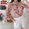 [PRE-KOREA] เสื้อเบลาส์ชีฟองลายดอกไม้ ตัดไหล่ แบรนด์ cherryville