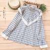 เสื้อเบลาส์ลายสก๊อตแขนยาวแต่งผ้าลูกไม้ (มีให้เลือก 3 สี)