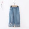 กางเกงยีนส์ปักลายเอวยืด (มีให้เลือก 2 สี 2 ไซส์)
