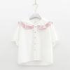 เสื้อเบลาส์ชีฟองสีขาวแขนสั้น แต่งปก/แต่งกระดุม (มีให้เลือก 3 สี)