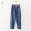 กางเกงยีนส์ขายาวเอวยืด ปักลาย (มีให้เลือก 2 ไซส์)