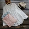 เสื้อผ้าฝ้ายแขนยาว ฉลุลาย/ปักลูกไม้ (มีให้เลือก 3 สี)